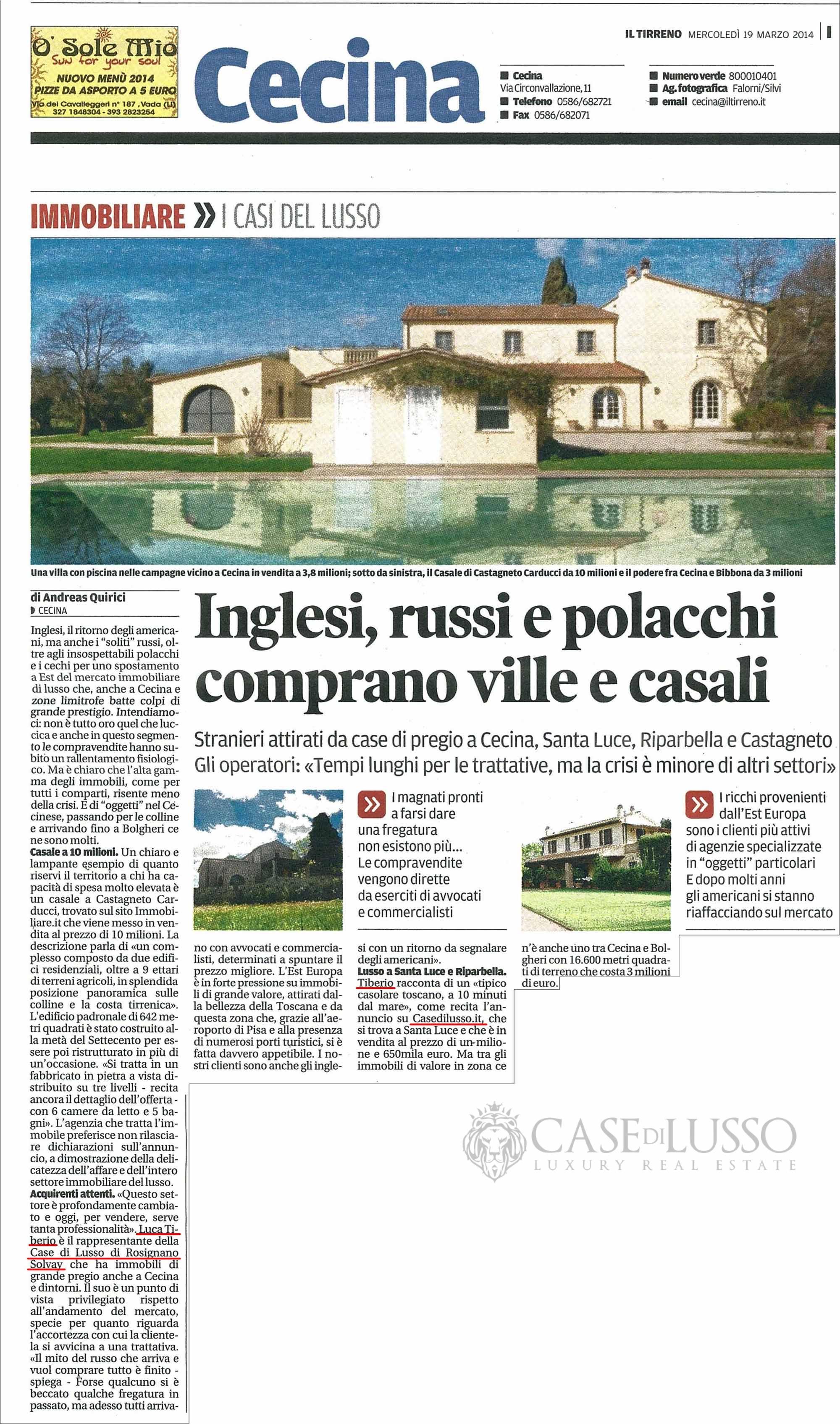 Articolo sul mercato immobiliare di lusso in Toscana